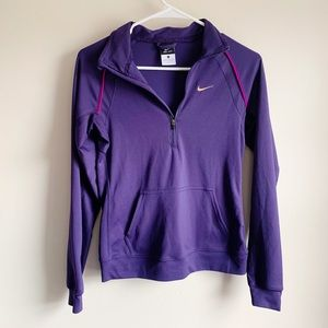 Nike Dri-fit Purple Athletic 1/4 Zip Top Active